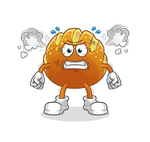O pão mascote muito zangado. desenho animado