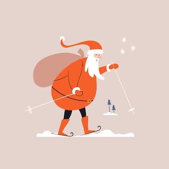 O papai noel está esquiando na neve e carregando uma sacola de presentes