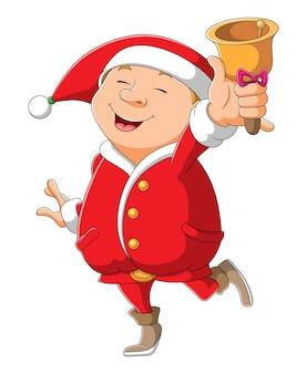 O papai noel está tocando a campainha no natal da ilustração