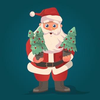 O papai noel trouxe algumas mini árvores de natal para dar as boas-vindas ao dia da celebração do natal