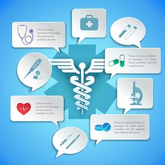 O papel médico da ambulância da farmácia infographic e o discurso borbulham ilustração do vetor.