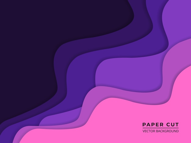 O papel roxo corta o fundo abstrato com camadas de papel ondulado violeta e rosa.