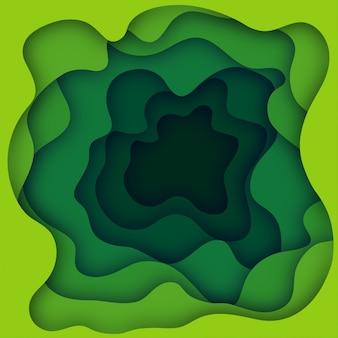 O papel verde cortou a bandeira com fundo do sumário do lodo 3d e camadas das ondas do amarelo. projeto de layout abstrato para brochura e folheto. paper art illustration Vetor Premium