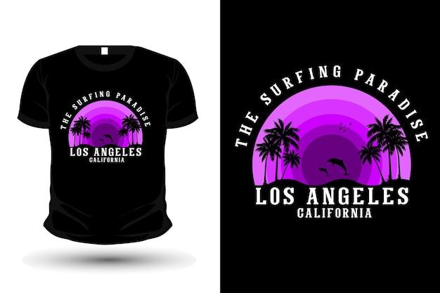 O paraíso do surfe t-shirt com design silhueta estilo retro