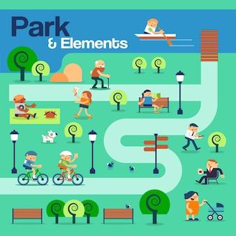 O parque e os elementos com os povos.