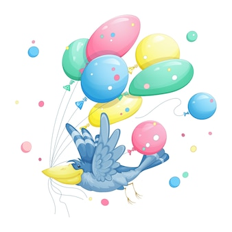 O pássaro azul carrega muitos balões multicoloridos