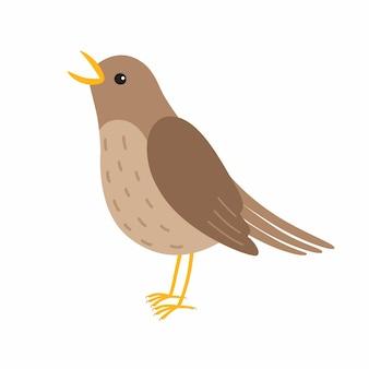 O pássaro rouxinol canta. ilustração vetorial isolada no fundo branco.