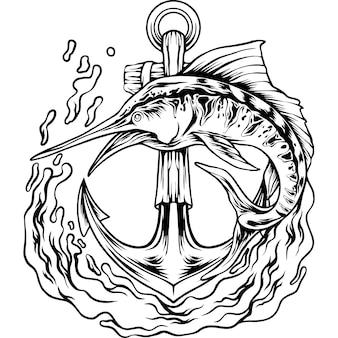O peixe marlin com silhueta de âncora