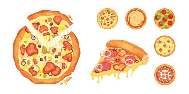 O pepperoni em fatias finas é uma pizza popular. cozinheiro italiano e entrega de pizzas. Vetor Premium