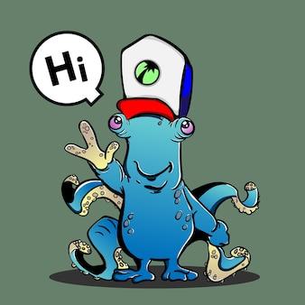O pequeno alienígena bonito que cumprimenta as pessoas nos desenhos animados da terra