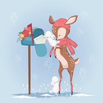 O pequeno cervo ajudando o coelho para obter os correios