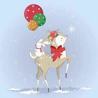 O pequeno cervo beija o floco de neve