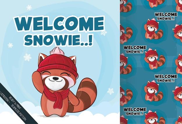O pequeno panda vermelho feliz na neve ilustração ilustração e conjunto de padrões
