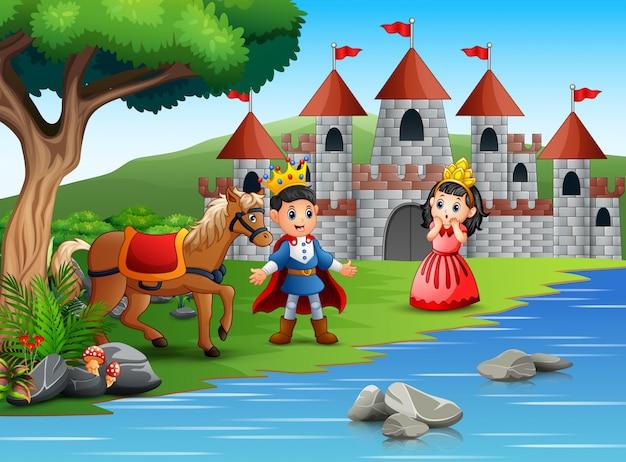 O pequeno príncipe e princesa em uma bela paisagem