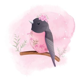 O pequeno robin está empoleirado em um galho com lindas flores, aquarela.