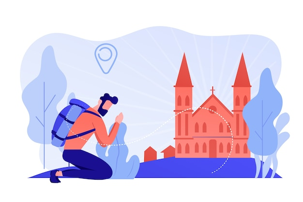 O peregrino ajoelhado alcançou a famosa catedral cristã e orou. peregrinações cristãs, peregrinação, visite o conceito de lugares santos. ilustração de vetor isolado de coral rosa