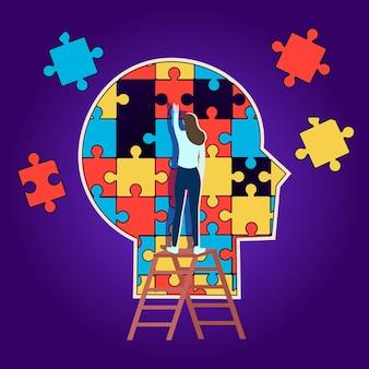 O perfil da cabeça é feito de peças de quebra-cabeça. conceito de ajuda psicológica. vetor.