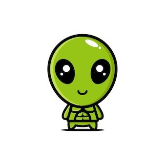 O personagem alienígena fofo é forte e musculoso