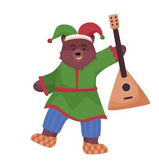 O personagem animal é marrom, um urso com o traje nacional da rússia e sapatos bast estão dançando com uma balalaica.