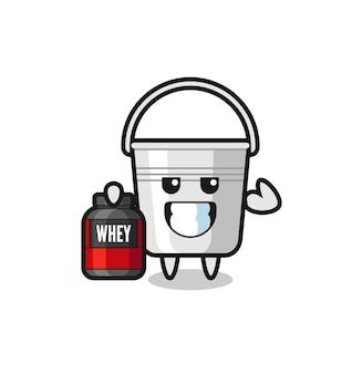 O personagem balde de metal musculoso está segurando um suplemento de proteína, design de estilo fofo para camiseta, adesivo, elemento de logotipo