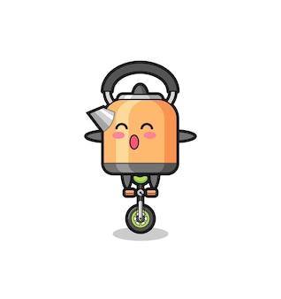 O personagem chaleira fofa está andando de bicicleta de circo, design de estilo fofo para camiseta, adesivo, elemento de logotipo