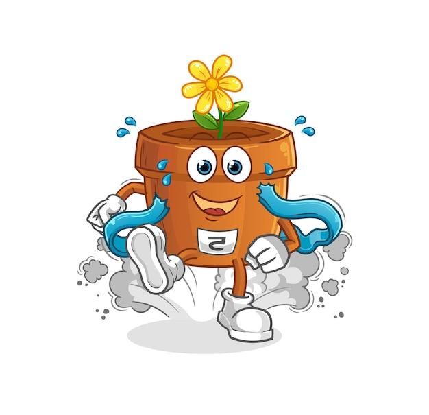 O personagem corredor do vaso de flores. mascote dos desenhos animados