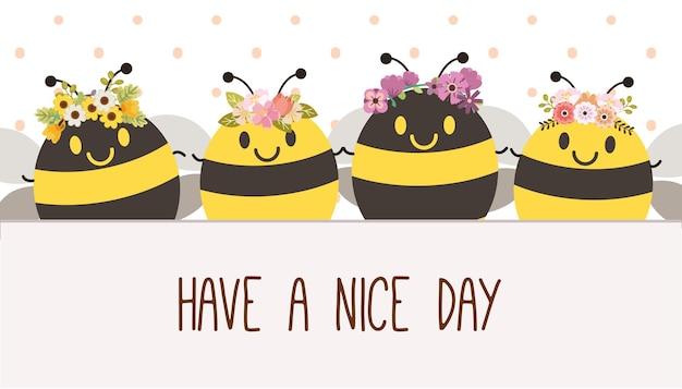 O personagem da abelha fofa com coroa de flores em estilo simples