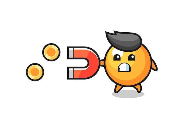 O personagem da bola de pingue-pongue segura um ímã para pegar as moedas de ouro, design de estilo fofo para camiseta, adesivo, elemento de logotipo