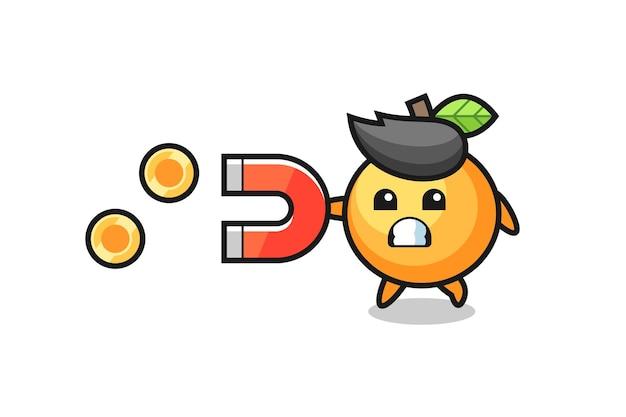 O personagem da fruta laranja segura um ímã para pegar as moedas de ouro, design de estilo fofo para camiseta, adesivo, elemento de logotipo