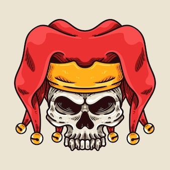 O personagem da mascote do crânio do bobo da corte