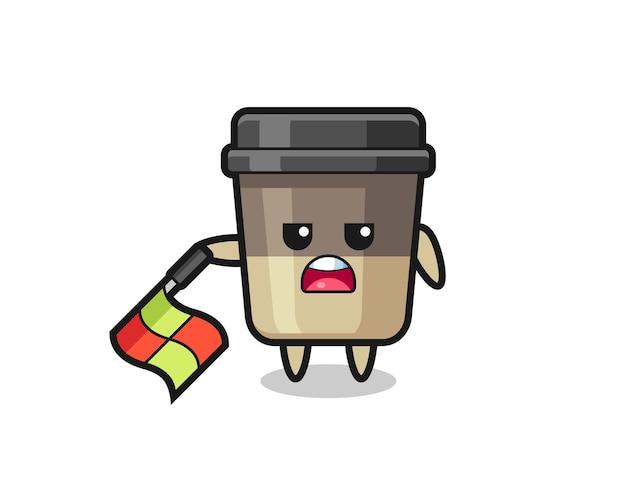 O personagem da xícara de café como juiz de linha segura a bandeira em um ângulo de 45 graus, design de estilo fofo para camiseta, adesivo, elemento de logotipo
