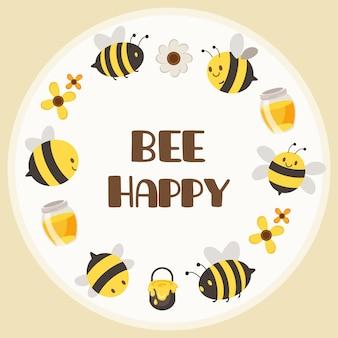 O personagem de abelha amarela bonita e abelha preta no quadro de círculo com um texto ser feliz