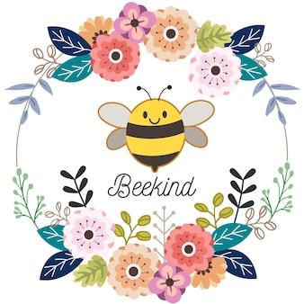 O personagem de abelha bonita com grinalda de flores no estilo simples. dowload