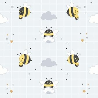 O personagem de abelha bonita com nuvens e flores sobre fundo azul, padrão sem emenda