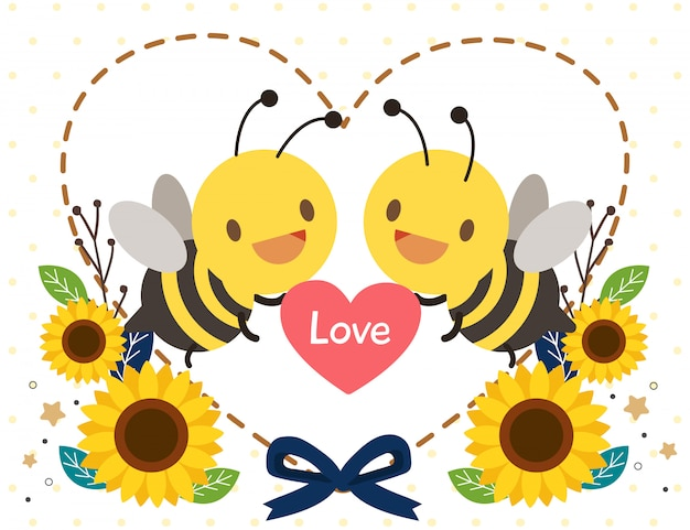 O personagem de abelha bonita segurando um coração com girassol e coração em estilo simples.