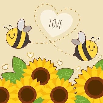 O personagem de abelha bonita voando no céu com girassol e texto de abelha feliz.