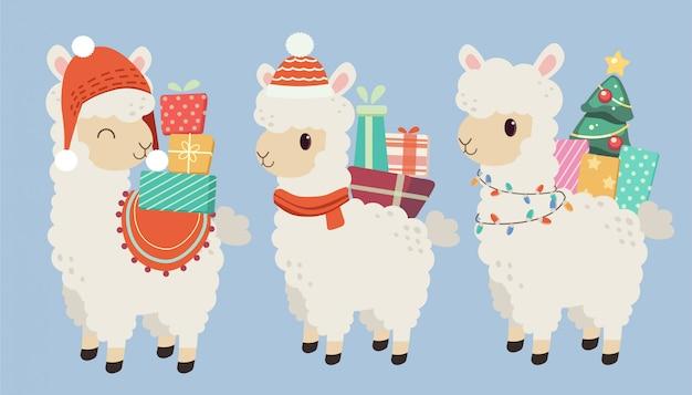 O personagem de alpaca bonito usa um chapéu vermelho e as costas têm uma caixa de presente com muitos