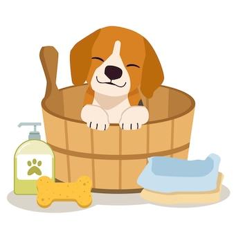 O personagem de beagle bonito sentado no barril com esponja, shampoo, sabonete e toalha em estilo simples.