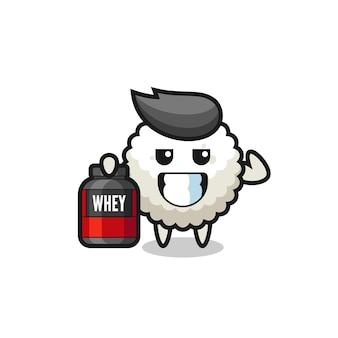 O personagem de bola de arroz musculoso está segurando um suplemento de proteína, design de estilo fofo para camiseta, adesivo, elemento de logotipo
