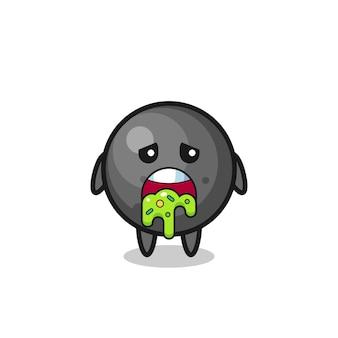 O personagem de bola de canhão fofa com vômito, design de estilo fofo para camiseta, adesivo, elemento de logotipo