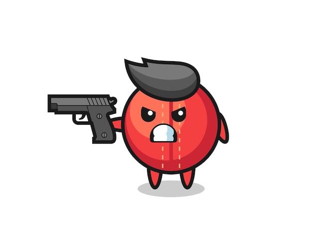 O personagem de bola de críquete fofa atira com uma arma, design de estilo fofo para camiseta, adesivo, elemento de logotipo