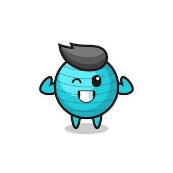 O personagem de bola de exercícios musculosos está posando mostrando seus músculos, design de estilo fofo para camiseta, adesivo, elemento de logotipo