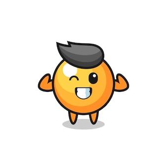 O personagem de bola de pingue-pongue musculoso está posando mostrando seus músculos, design de estilo fofo para camiseta, adesivo, elemento de logotipo