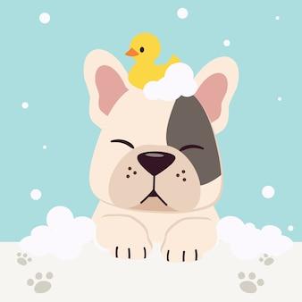 O personagem de bulldog francês bonito com muito o pato de borracha e bolha em estilo simples. ilustração