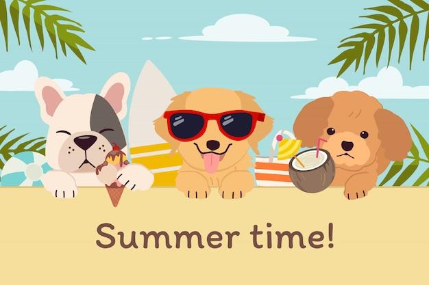 O personagem de cachorro fofo com amigos na praia para o horário de verão em estilo simples.