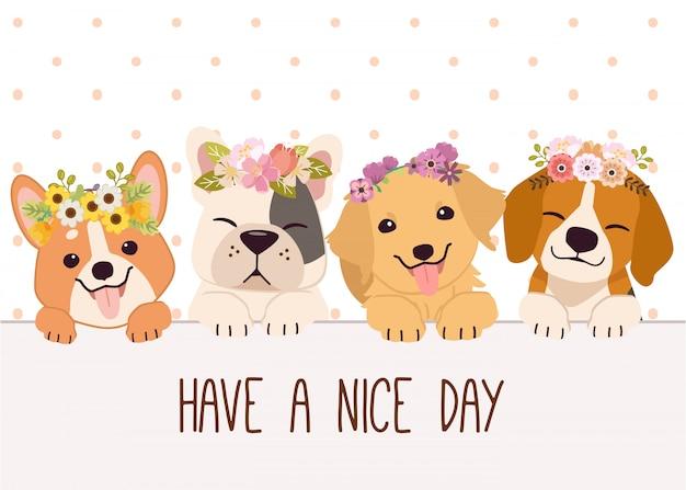 O personagem de cachorro fofo com amigos usa coroa de flores e texto de tenha um bom dia