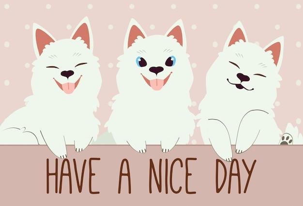 O personagem de cachorro samoiedo bonito e amigos.