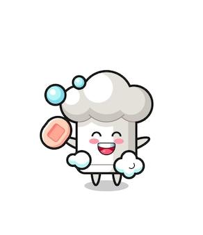 O personagem de chapéu de chef está tomando banho enquanto segura o sabonete, design de estilo fofo para camiseta, adesivo, elemento de logotipo
