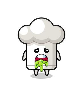 O personagem de chapéu de chef fofo com vômito, design de estilo fofo para camiseta, adesivo, elemento de logotipo