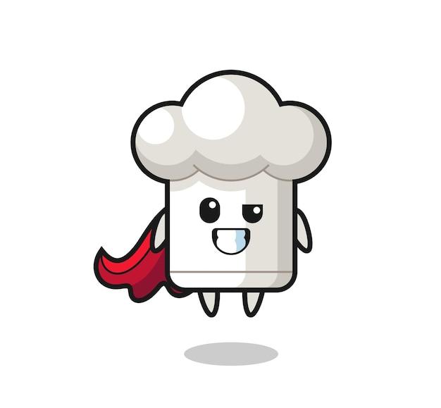 O personagem de chapéu de chef fofo como um super-herói voador, design de estilo fofo para camiseta, adesivo, elemento de logotipo